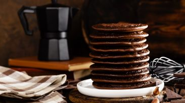stack of chocolate pancakes DCGHY39 scaled
